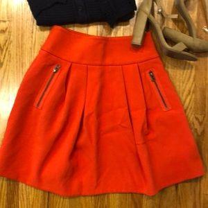 Anthropology Maeve scarlet swing zipper skirt